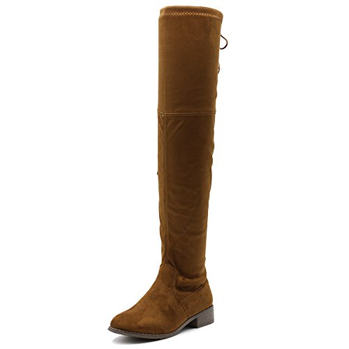 Ollio Women Shoe Adjustable Drawstring Stretch Faux Suede Over The Knee Zip Up Long Boots TWB08(11 B(M) US, - Knee Brown Suede Boots