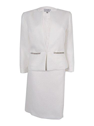 Tahari ASL Women's Petite Bryon Skirt Suit, Ivory, 16/Petite - Ivory Skirt Suit