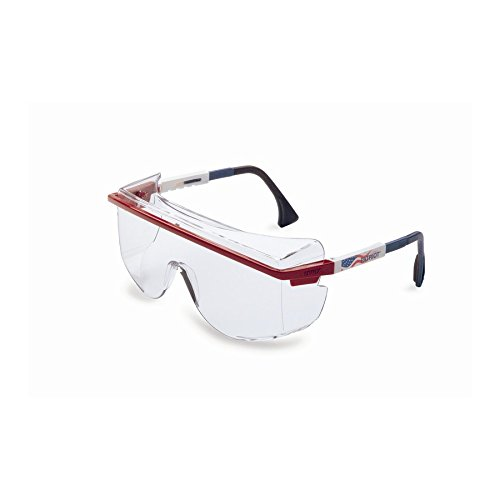 Honeywell S2530C Uvex Astrospec OTG 3001 Series Safety with Patriot Frame and Clear Lens, Standard, Red/White/Blue -