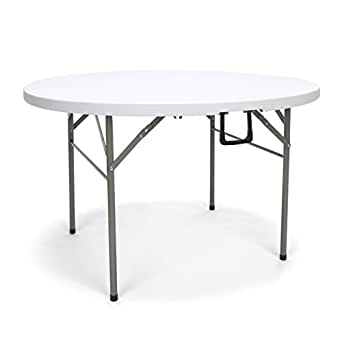 "Essentials Multipurpose Folding Utility Table - Sturdy Card/Conference/Office/Craft Center Folding Plastic Table, 48"" Round, White (ESS-5048RF)"