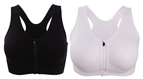 (Women's Front Zipper Closure Sports Bra Medium Impact Workout Yoga Bras 2Pack XL Black/White)