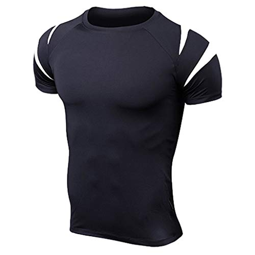 Honhui Fitness T Shirts for Men Quick Dry Short Sleeve Tee Running Athletic Tops Blouse