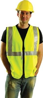 OccuNomix SSGZ-YL Large Hi-Viz Yellow OccuLux Premium Economy Light Weight Solid Polyester Tricot Class 2 Standard Vest with Front Zipper Closure and 3M Scotchlite 2'' Reflective Tape, 9.204 fl. oz. ()
