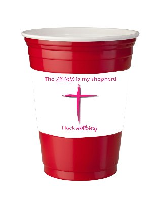 4 Pack of Vinyl Decal Stickers for Disposable Cups / The Lord Is My Shepherd