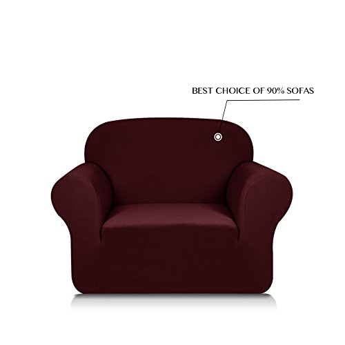 Subrtex 1-Piece Knit Jacquard Spandex Stretch Sofa Slipcovers (Chair, Dark Red)