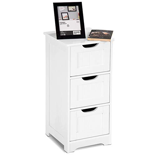 Tangkula Floor Cabinet with 3 Drawers Wooden Storage Cabinet for Home Office Living Room Bathroom Side Table Sturdy Modern Drawer Cabinet Organizer Bedroom Night Stand, White(3 Drawers) ()