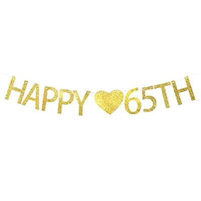 Happy 65th Birthday Banner – 65th Wedding Anniversary Party Decorations Sign
