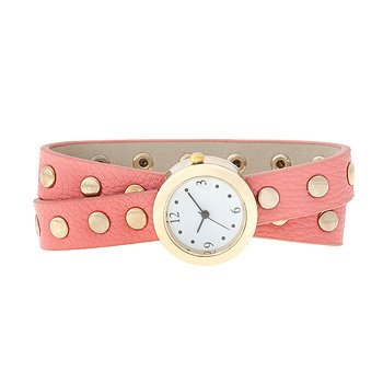J Goodin Pink Round Synthetic Leather Synthetic Leather Studded Wrap Watch from JGOODIN