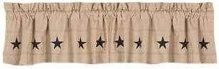 Home Collection by Raghu Danville Star Valance, 72 by 15.5-Inch, Nutmeg Black