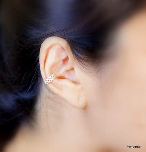 151) No Piercing Textured Pattern Sterling Silver Wire Ear Cuff