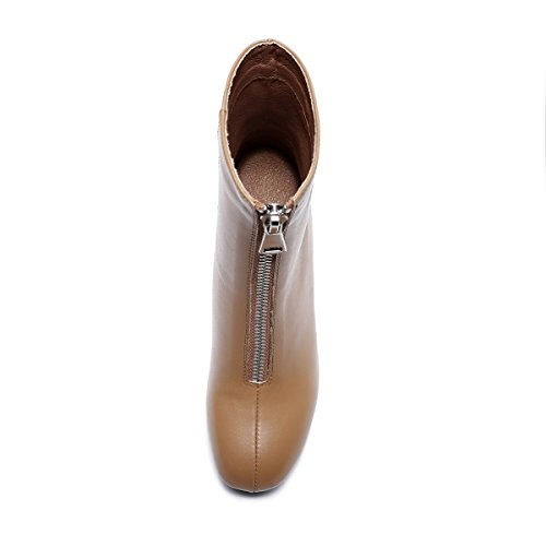 Cow Heels Brown And Women Boots Round Leather Thick With Fashion q8wYvA