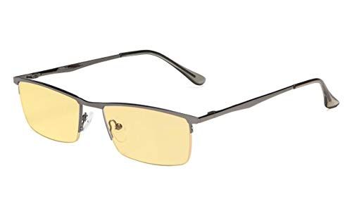 Eyekepper Blue Light Blocking Glasses Half-Rim Computer Readers Eyeglasses-Digital Eyewear-Amber Tinted Lens Reading Glasses (Gunmetal, 0.00) ()