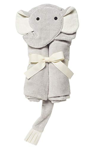 Elegant Baby Top Selling  Bath Gift - Cotton Hooded Towel Wrap, Soft Grey Elephant ()