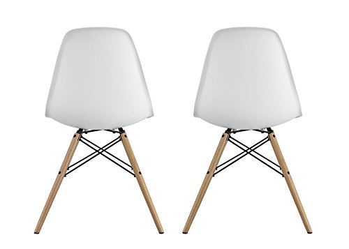 DHP Mid Century Modern Chair with Wood Legs, Set of Two, Lightweight, White by DHP (Image #7)