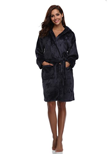 Blue Hooded Robe (Luvrobes Women's Plush Fleece Hooded Robe Ultra-Soft Short Bathrobe(S/M, Navy))