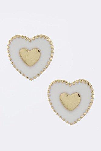 Judith Ripka Sterling Heart (KARMAS CANVAS VALENTINE HEART EARRINGS (White))