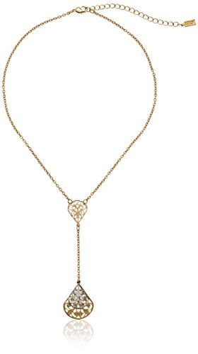 1928 Jewelry Gold-Tone Filigree Pear Shape Adjustable Y-Shaped Necklace, 16 + 3 Extender