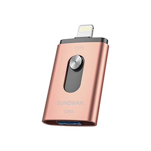 USB Memory Stick 128GB,USB 3.0 Photo Stick,Flash Drive 3in1 for iPhone External Drive Encryption Storage SUNSWAN Compatible iPhone iPad iPod iOS Windows Mac Android and PC(Pink128G-TL03)