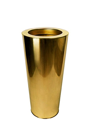 Le Present J247 Gold Stainless Steel Cone Planter44; Gold - 28 x 14 x 14 in. by Le Present