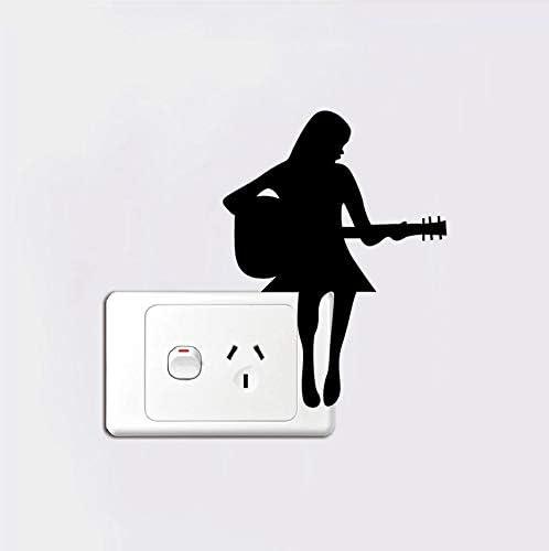 PANDABOOM Chica Tocando El Interruptor De Guitarra Pegatina ...
