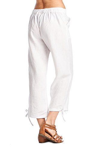 62a37d07e4b165 High Style Women's Casual 100% linen capri pants with drawstring and adjustable  leg tie (