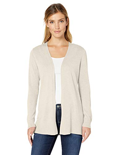 Amazon Essentials Women's Lightweight Open-Front Cardigan Sweater, Oatmeal Heather, X-Small