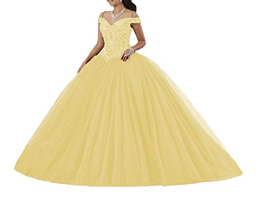 Graceprom Women's Puffy Beaded Crystal Quinceanera Dresses Ball Gown Sweet 16 Dresses 4 Yellow (Best Sweet Sixteen Dresses)