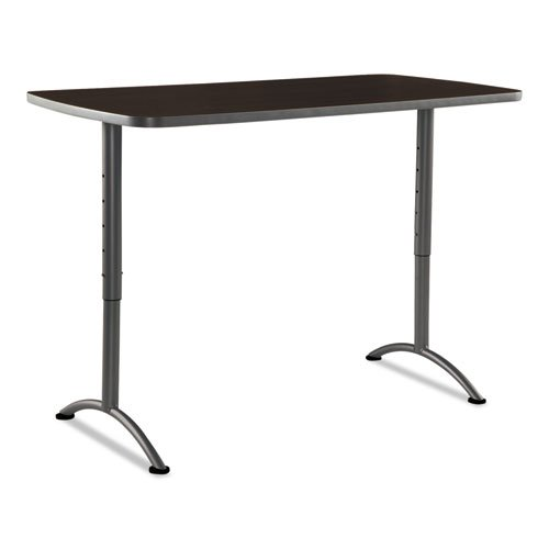 Iceberg ARC Sit-to-Stand Tables, Rectangular Top, 30w x 60d x 30-42h, Walnut/Gray - BMC-ICE 69314