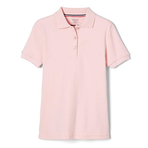 French Toast  Girls' Short Sleeve Interlock Polo with Picot Collar (Feminine Fit), Pink, X-Small/4/5,Little Girls