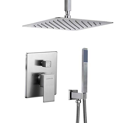 - VADANIA Dual-functional Shower System with Atmosphere LED, 12 inch Rainfall Shower Head Square & Handheld Shower Head, Including Rough-in Mixer Valve and Trim, Ceiling Mount