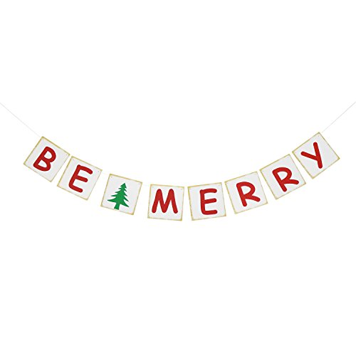 Review Be Merry Banner Garland - Indoor Outdoor Holiday Mantle Decorations - Christmas Party Decor S...