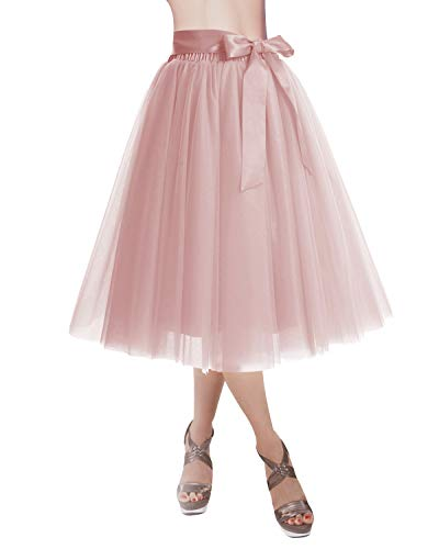 DRESSTELLS Knee Length Tulle Skirt Tutu Skirt Evening Party Gown Prom Formal Skirts Blush L-XL