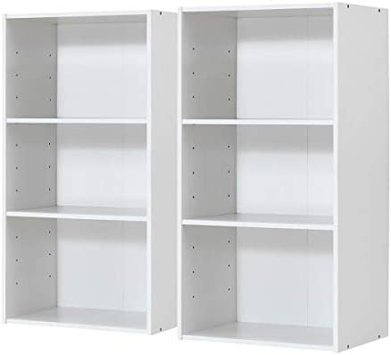 Giantex 2 Pieces 3 Shelf Bookcase Book Shelves Open Storage Cabinet Multi-Functional Home Office Bedroom Furniture Display Bookcases