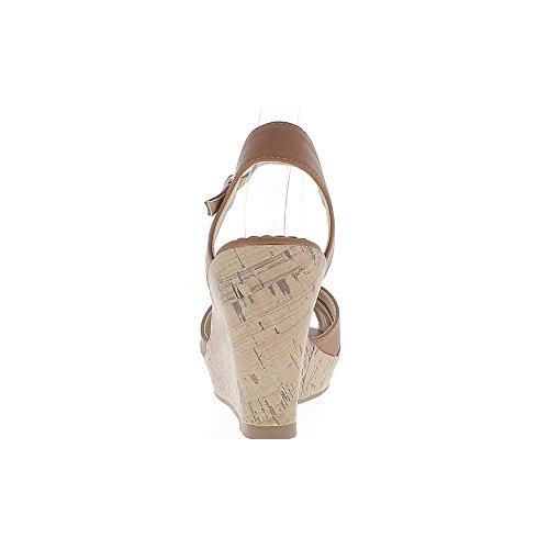 Kamel Keil Sandalen bei 10cm Leder aussehen Ferse gekreuzten Riemen