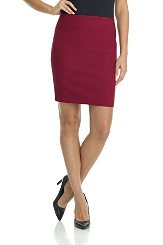 (Rekucci Women's Ease Into Comfort Above The Knee Stretch Pencil Skirt 19 inch (Small,Burgundy))