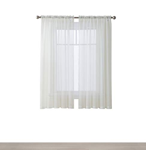 HLC.ME Ivory 54'' inch x 45'' inch Window Curtain Sheer Voile Panels for Kids Room, Kitchen, Living Room & Bedroom, Set of 2 by HLC.ME