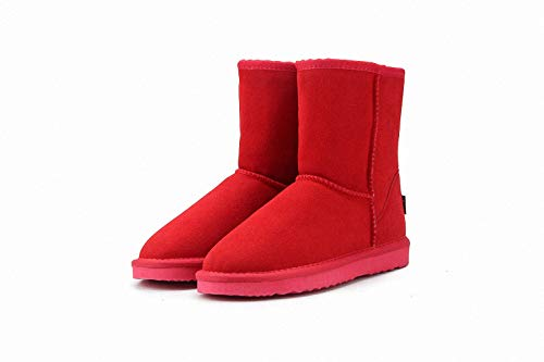 Cowhide Split Autumn Winter Warm Fur Vintage Motorcycle Boots Martin Shoes Snow Ankle Top Boots
