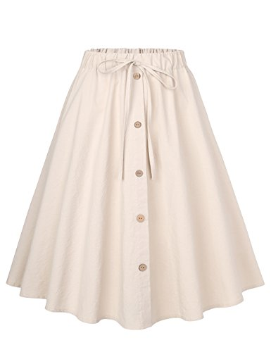 BaiShengGT Casual Skirts for Women, Women's A-Line High Waisted Button Front Pleated Midi Skirt with Elastic Waist Knee Length One Size(fit S-M) Apricot-False Drawstring by BaiShengGT