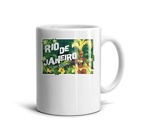 FGBLK Brazilian Samba Dancer Carnival in Rio de Janeiro Espresso Cups White Novelty 11 oz Travel Coffee - Rio Birthday 2 Party Supplies