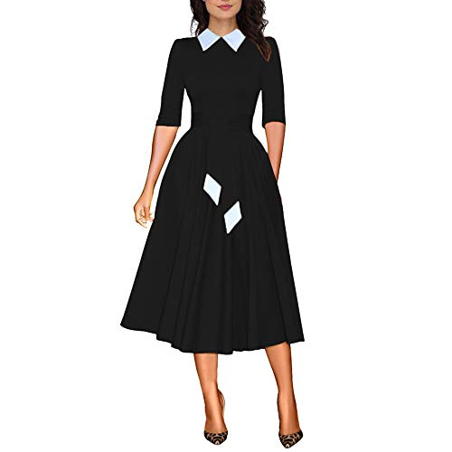 JIREH Womens Maxi Dress Cocktail Bodycon Dress Half Sleeve Contrast Collar High Waistband with Belt Long Dress