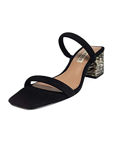 1a6bfb43cd74f Uterque Women Suede Sandals with Marble Effect Heels 4086/051 (38 EU | 7.5  US | 5 UK) Black