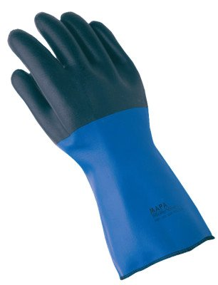 MAPA Temp-Tec NL-56 Neoprene Thermal Insulation Heavyweight Glove, Chemical Resistant, 14'' Length, Size 10, Blue/Black (Case of 6 Pairs)