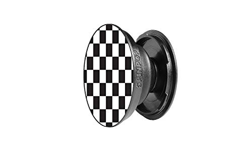 SpinPop Grip and Kickstand for Phones and Tablets - Black & White Checker