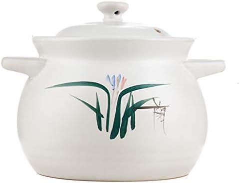 キャセロール陶磁器の鍋高温スープ中国の台所用品大容量スープ鍋直火手作りの大釜調理循環加熱シチュー (Color : WHITE, Size : 15.8*15.8*12.2CM)