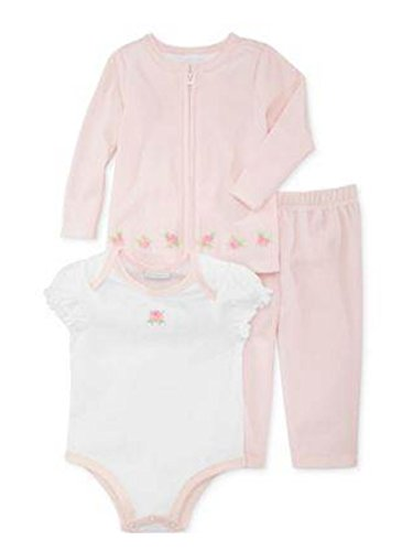 First Impressions Sweater - First Impressions Infant Girl 3 PC Pink Velour Rosette Pants Shirt Sweater 3-6m
