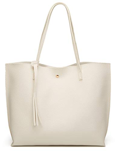 Women'S Soft Leather Tote Shoulder Bag From Dreubea, Big Capacity Tassel Handbag White, Large