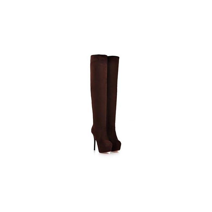 Lvyuan-ggx Da Donna Tacchi Decolleté Pu poliuretano Inverno Formale A Stiletto Nero Marrone Tessuto Almond 12 Cm E Oltre Black Us8 Eu39 Uk6 Cn39