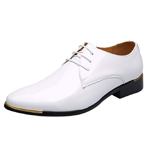 Men's Casual Patent Leather Lace up Wingtip Pointed Toe Metal Dress Shoes Bright Fashion Shoes by Lowprofile White
