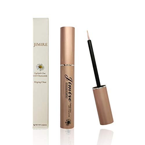 JIMIRE Eyelash Glue Clear | Secure Hold for False Eyelashes | Latex-Free Eyelash Adhesive with Chamomile Suitable for Sensitive Eyes