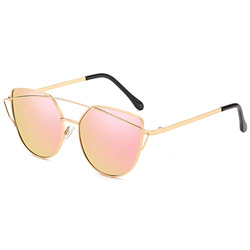 Cat Eye Mirrored Flat Lenses Metal Frame Women Sunglasses, with Anti-allergy Silicone Nose Pads (Gold Pink)